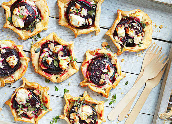 Beetroot, goat's cheese and hazelnut galettes