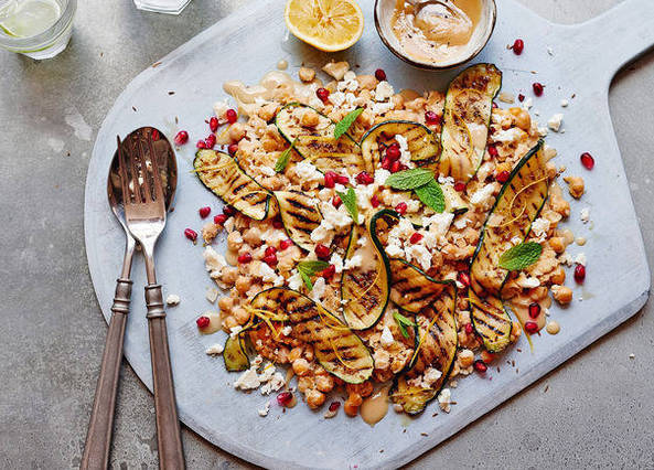 Image: 14 beautiful courgette recipes, smashed chickpeas with grilled courgettes recipe