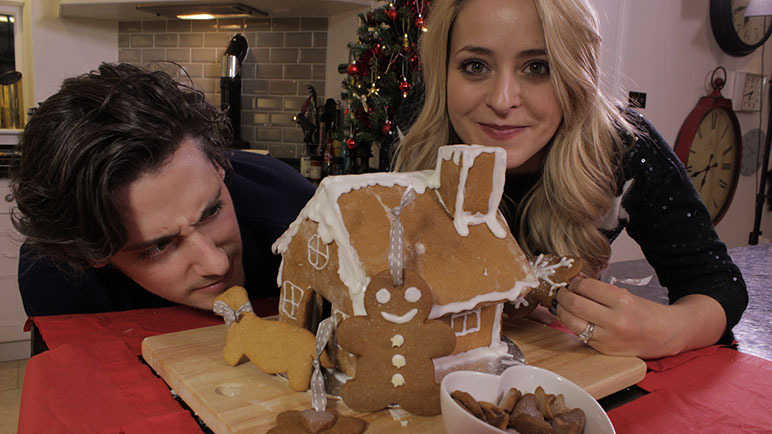 Image: Fleur and Mike make a gingerbread house