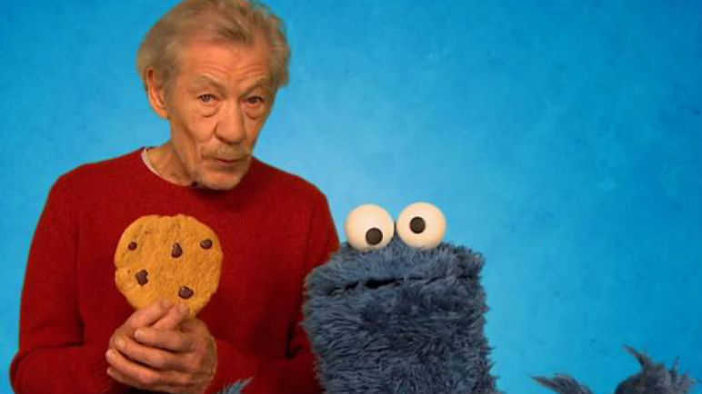 Image: Sir Ian McKellen teaches the Cookie Monster some self-control