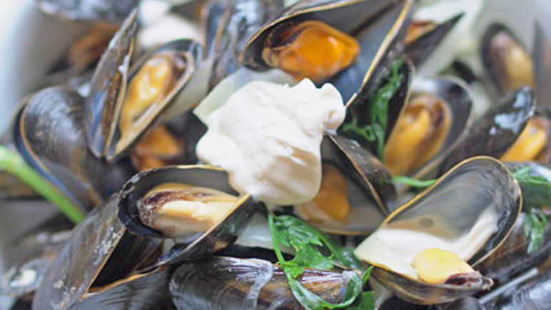 Moules with calvados
