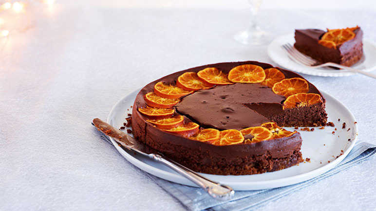Baked Chocolate and Clementine Cheesecake