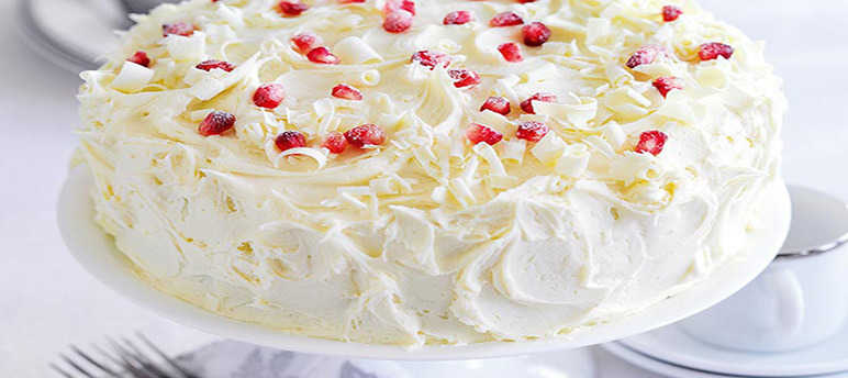 Pomegranate, Cranberry and White Chocolate Cake