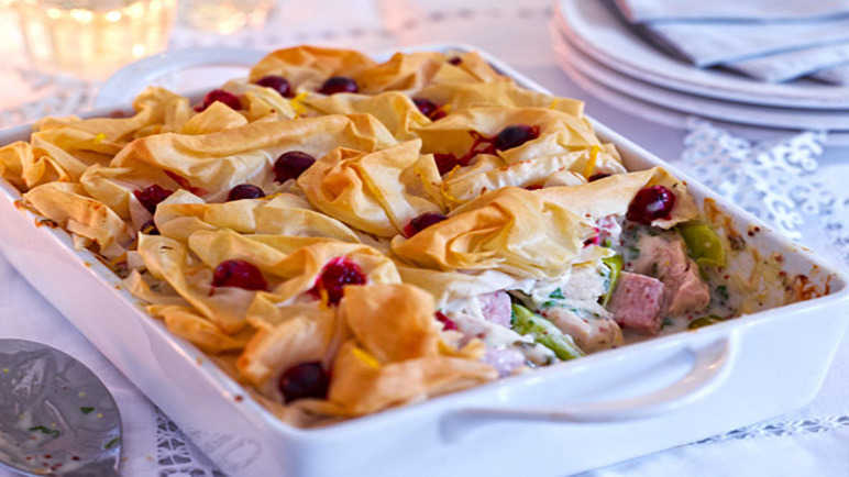 Cranberry, Turkey & Ham Pot Pie