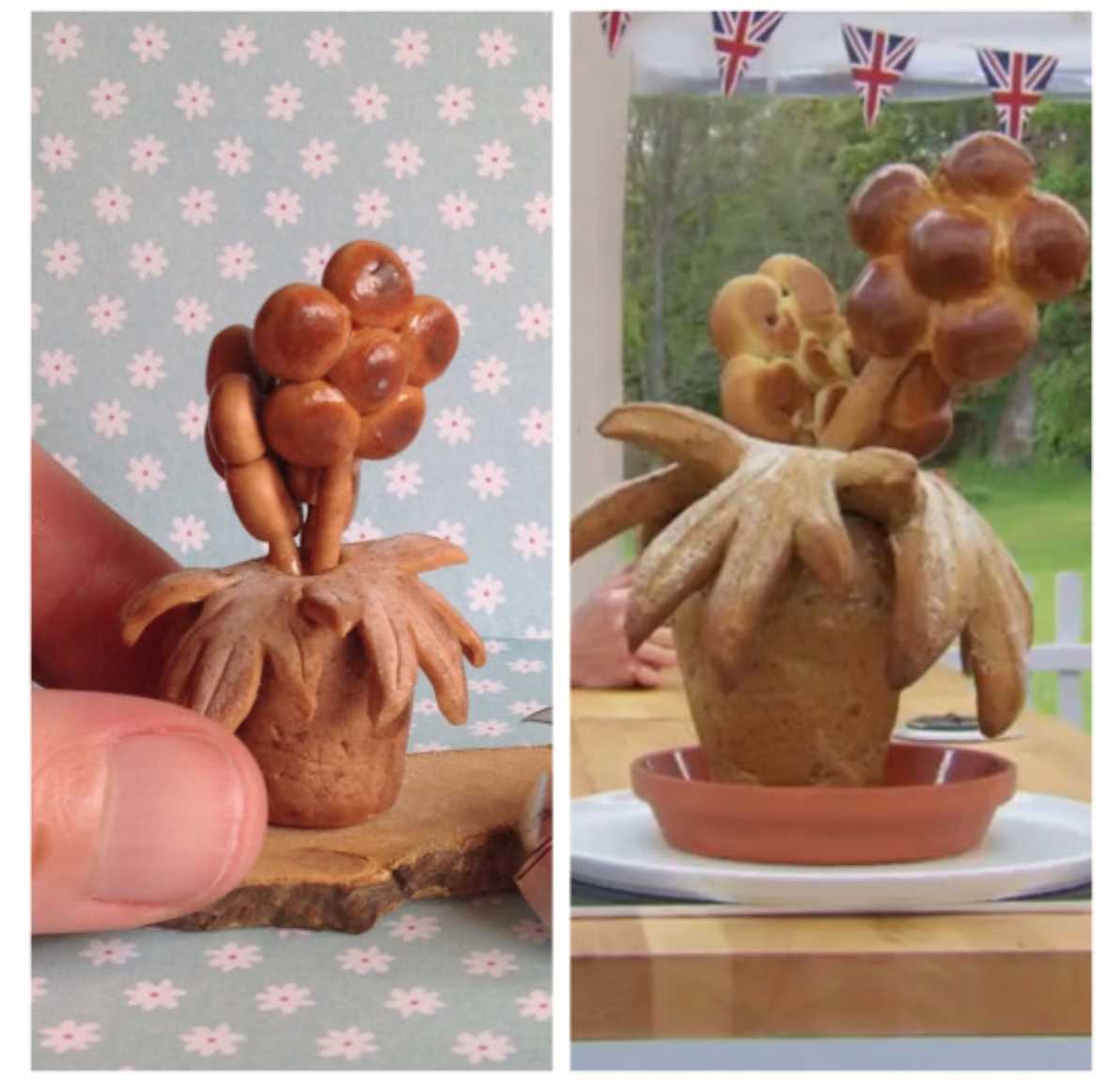 Ian's bread flowerpot sculpture before