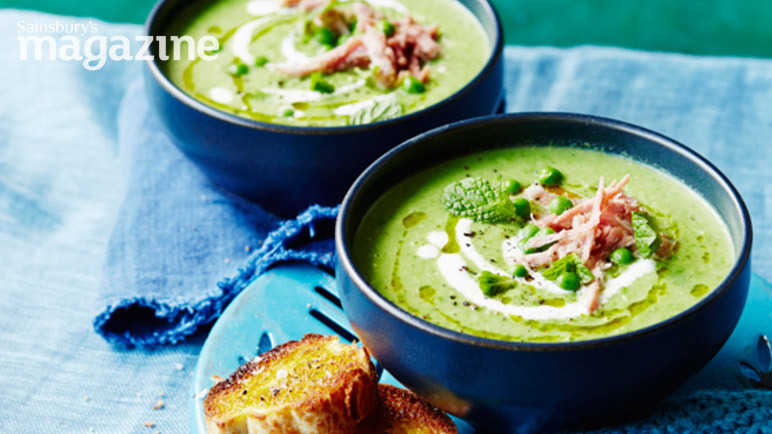 Pea and mint soup with ham hock