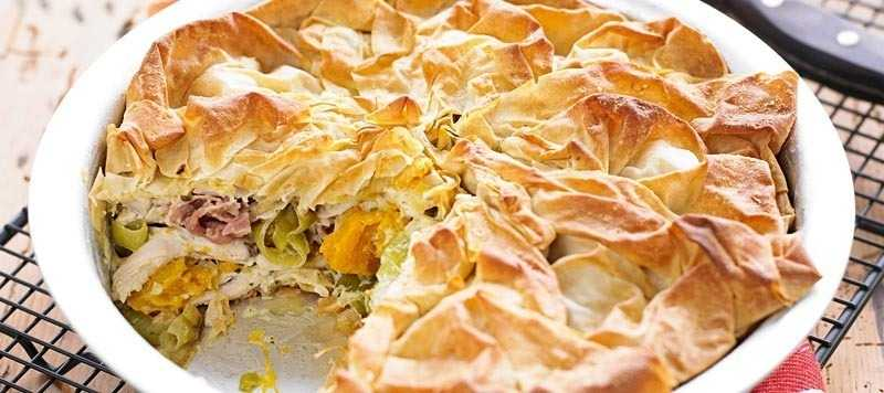 Roast chicken, squash and filo pie