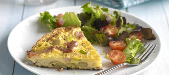 Leek & bacon frittata