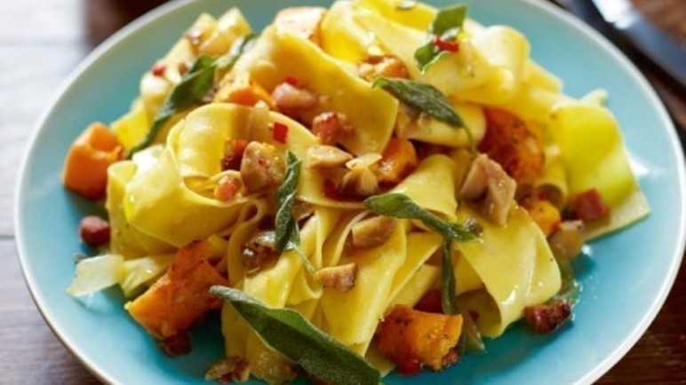 Chestnut & sage pasta with pancetta