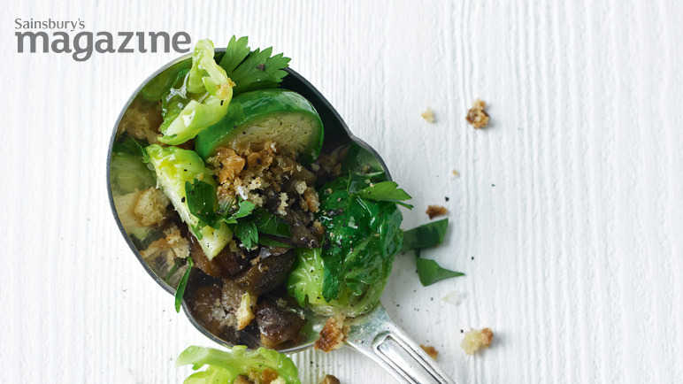 Brussels sprouts with chestnut and parsley crumbs