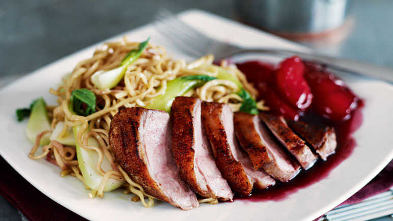 Crispy five-spice duck with noodles