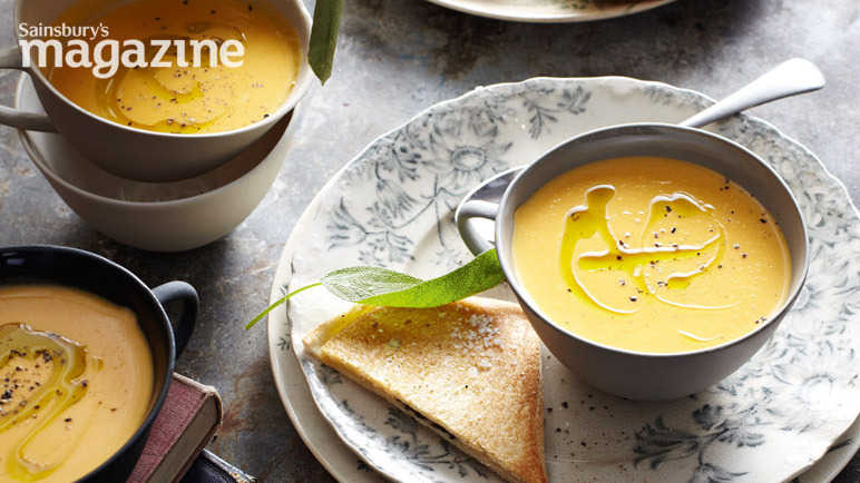 Butternut squash soup with sage sandwiches
