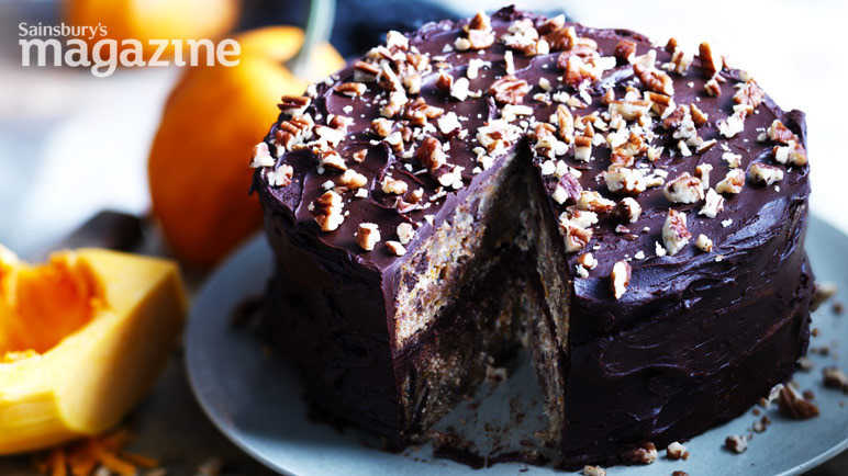 Butternut, chocolate and toasted pecan cake