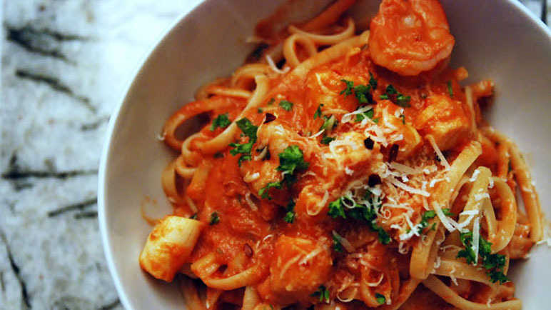 Pasta with seafood vodka sauce