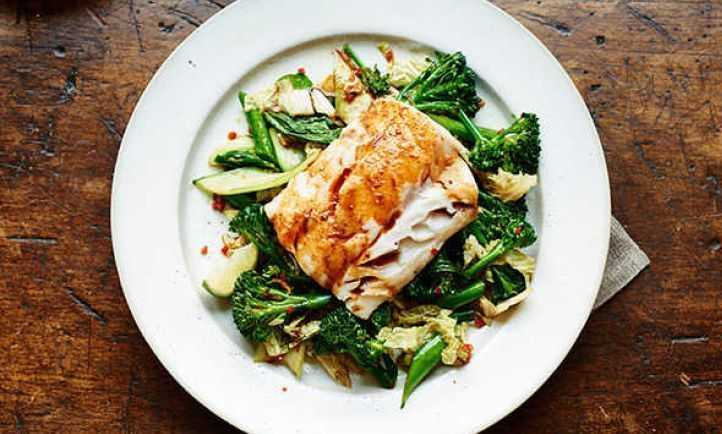 Asian cod with stir fried greens