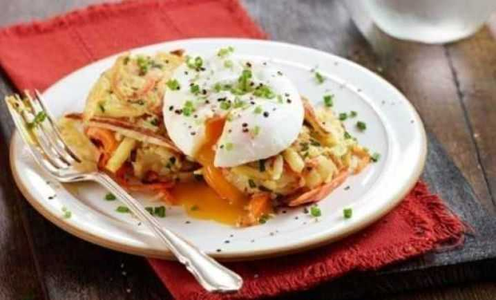 Vegetable rostis with poached eggs