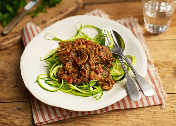 Porcini and green lentil Bolognese with courgetti