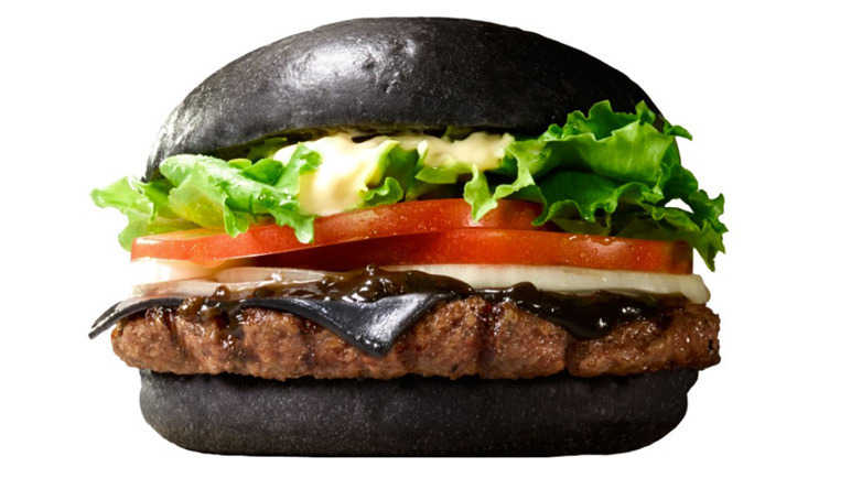 Burger King black burger with salad