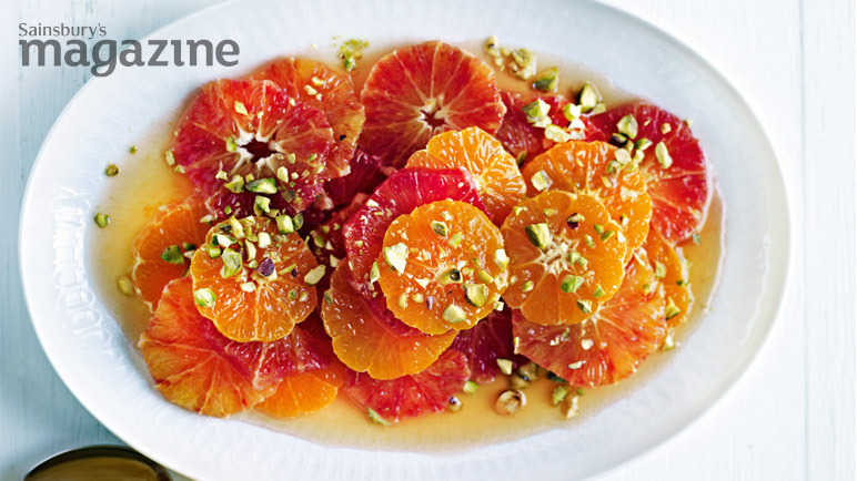 Citrus fruit salad with spiced syrup