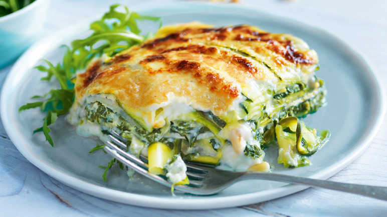 Spinach and ricotta lasagne with courgette pasta