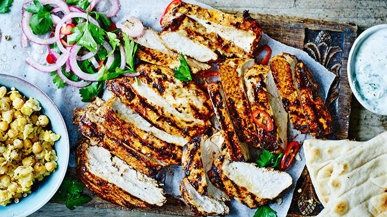 Chargrilled chicken shawarma with smashed chickpeas