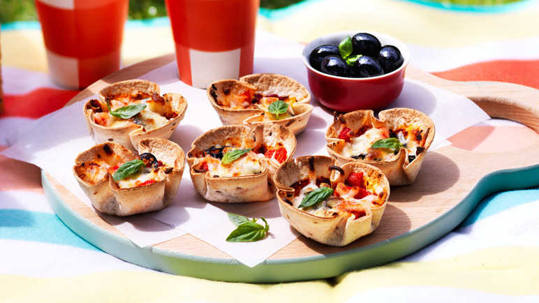 Muffin cup tortilla pizza recipe