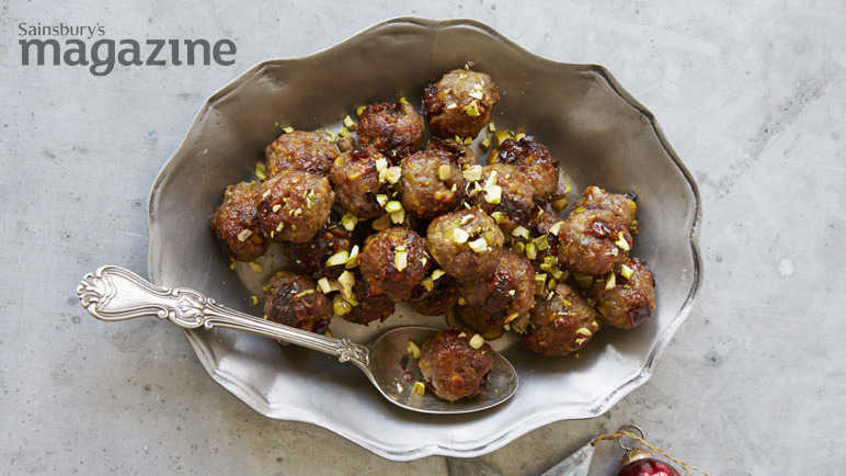 Pork, prune and pistachio stuffing balls