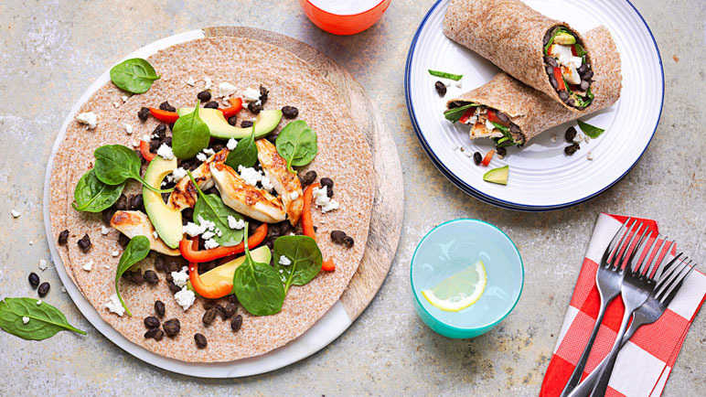 Chicken, avocado and black bean wrap