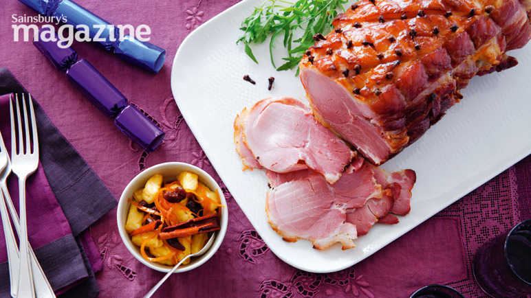 Glazed gammon with spiced pineapple and orange relish