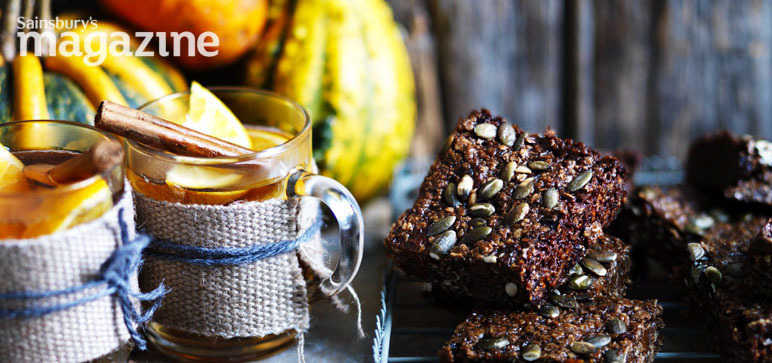 Pumpkin seed, black treacle and ginger square recipe