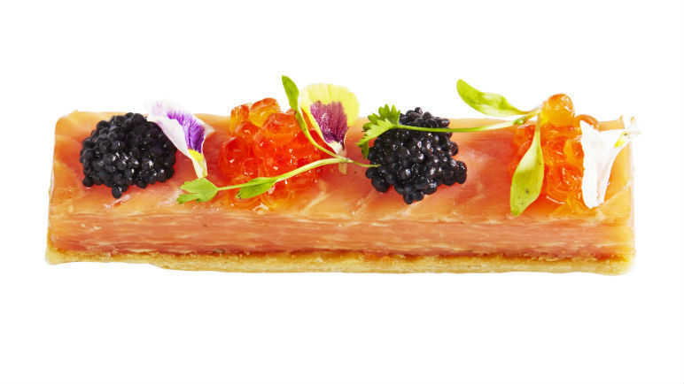 Smoked salmon millefeuille