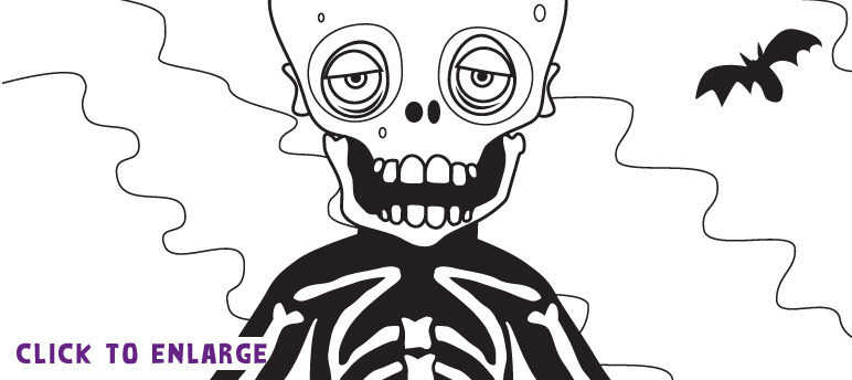 Bones the Skeleton colouring-in template