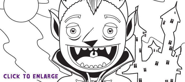 Pierce the Vampire colouring-in template