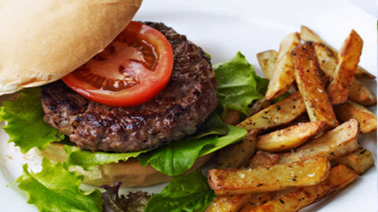 Burger and chunky chips recipe