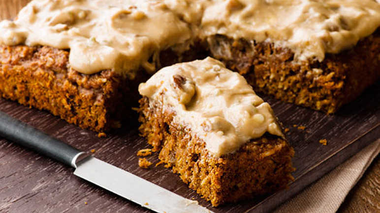Walnut topped carrot cake