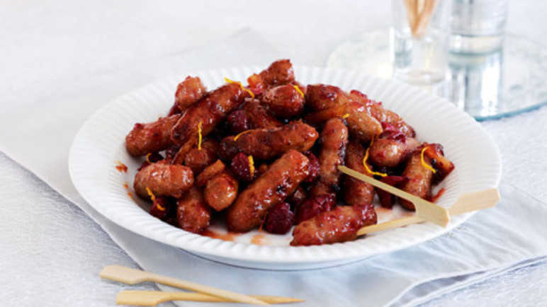 Marmalade and cranberry sausages