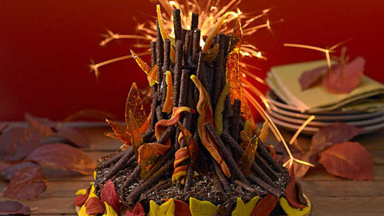 Clever firework cake with sparklers