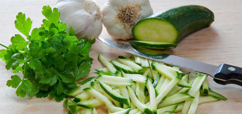 Chopped Raw Courgettes