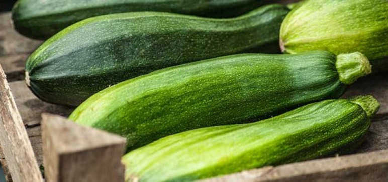 Whole courgettes