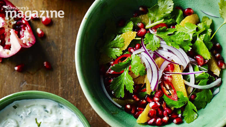 Red onion orange and pomegranate salad