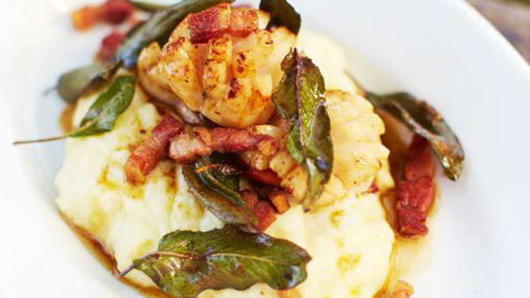 Jamie Oliver's surf 'n turf scallops and bacon