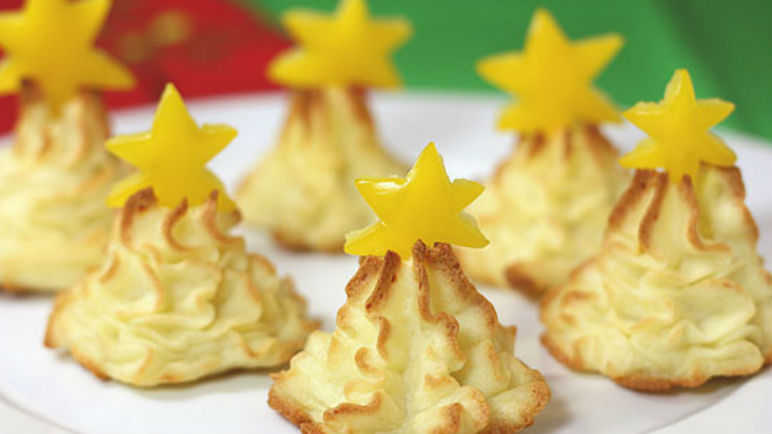 Mashed potato Christmas trees