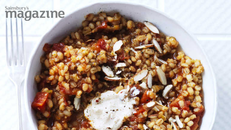 Tomato and rosemary pearl barley risotto