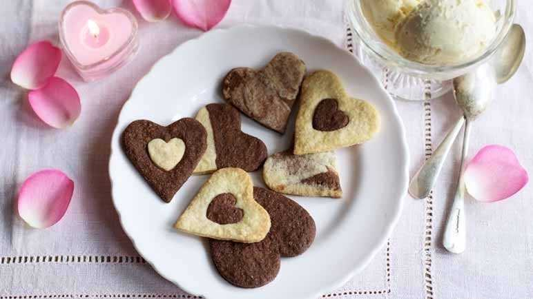 Vanilla and chocolate love heart biscuits