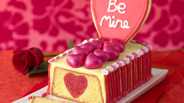 Hidden-heart surprise inside cake