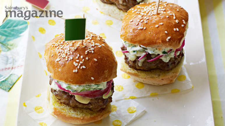 beef sliders with cheddar, red onion, pickle and crème fraiche