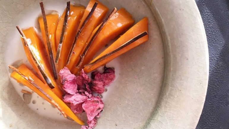 Pumpkin simmered with kelp and salted cherry blossoms