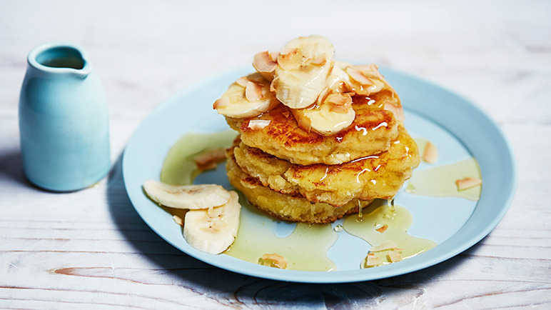 Coconut flour pancakes with banana and agave