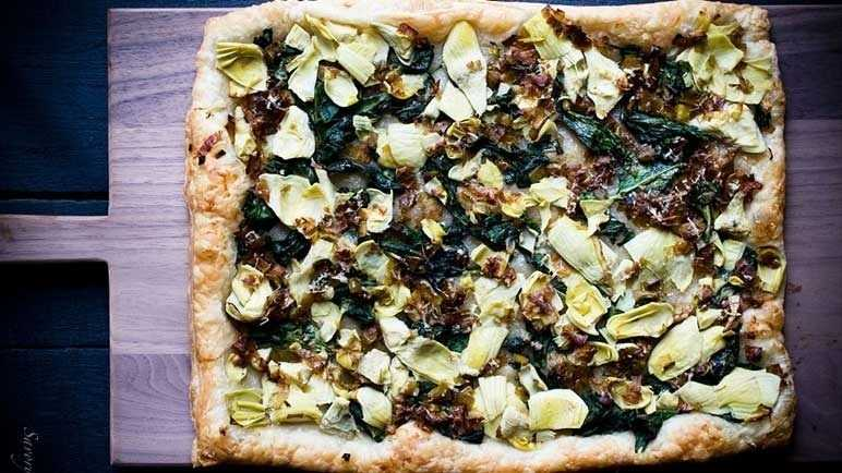 Spinach, Artichoke and Caramelized Leek Tart
