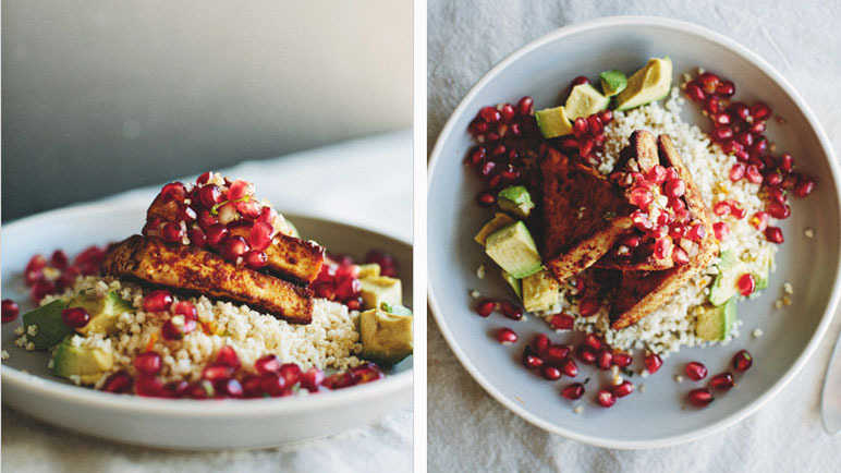 CHILI ROASTED TOFU WITH MINTED POMEGRANATE RELISH